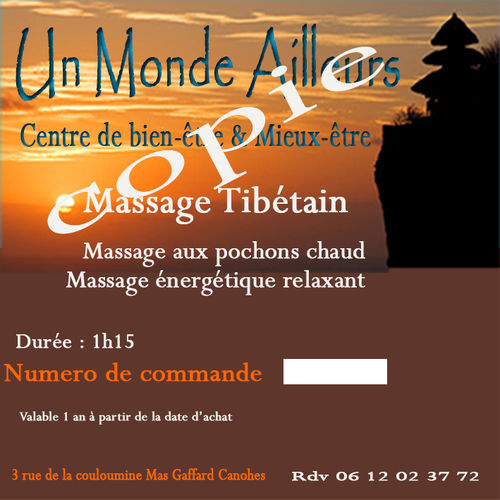 Bon cadeau Massage Tibetain
